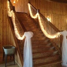 Stairway with Tulle..but we likely won't need the lights since it will be overly bright.