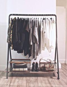 Clothing Rack //wire baskets #homegoods #homesense // ankle boots #zara // handbags #seebychloe #gucci // clothes #aritzia #zara #joefresh #forever21 #urbanoutfitters #clubmonaco #winners #marshalls #nordstrom #gap
