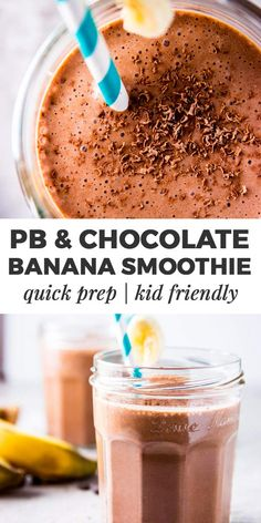 If you love peanut butter and chocolate, you'll be all over this Chocolate Peanut Butter Banana Smoothie! An easy to throw together, thick and creamy smoothie your kids will love - the ultimate healthy at-home smoothie to make on busy school mornings. Kid friendly, quick and easy. |#easyrecipes #smoothie #kidfriendly #peanutbutter #chocolate #recipes #healthy #healthyrecipes