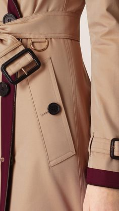 Colour Block Cotton Trench Coat Boysenberry | Burberry