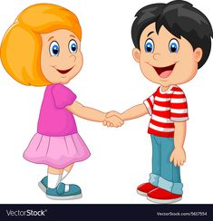 Cartoon their children holding hands Royalty Free Vector
