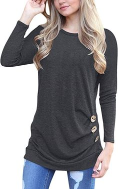 ECOWISH Womens Casual Long Sleeve T-Shirts Buttons Decor Blouse Loose Tunic Tops at Amazon Women's Clothing store: