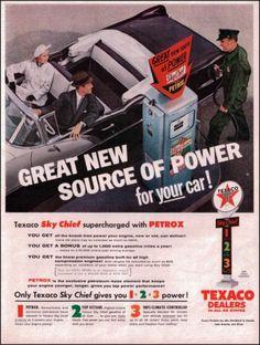 1956 Texaco Sky Chief Gasoline Original Vintage Print Ad Old Gasoline Ad