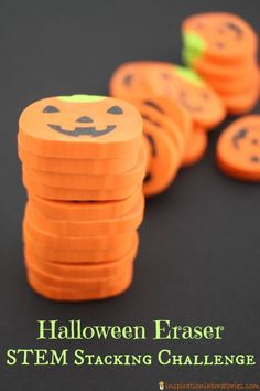Use pumpkin erasers for a fun Halloween themed STEM stacking challenge. It makes for a great busy bag, too. Halloween Science, Halloween Party Games, Halloween Kids, Halloween Themes, Halloween Activities, Happy Halloween, Activities For Autistic Children, Preschool Science Activities, Science For Kids