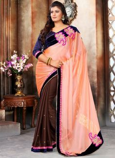 Specialised Brown and Peach Embroidered Work Designer Saree
