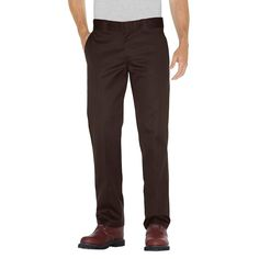 Dickies Men's Slim Straight Fit Twill Pants- Chocolate Brown 34x32