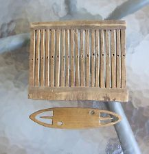 Antique Swedish Folk Art Wood Tape Loom + Tool Weaving 1700s early 1800s Sweden