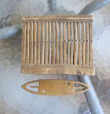 Antique Swedish Folk Art Wood Tape Loom + Tool Weaving 1700s early 1800s Sweden