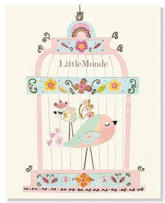 Baby Girl Nursery Prints, Nursery Art, French Nursery, Pastel Pink Nursery, Birds Nursery, Rose, NURSERY WALL DECOR. $16.00, via Etsy.