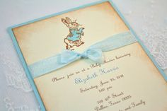 Peter Rabbit Invitations Vintage Style - You Choose Color Set of 10 Peter Rabbit Birthday, Peter Rabbit Party, Vintage Invitations, Shower Invitations, Peter Rabbit Nursery, Peter Rabbit And Friends, Bunny Party, Boy Christening, 1st Birthday Parties