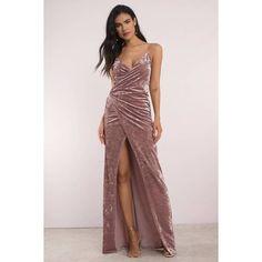 Tobi Split Ways Wrap Velvet Maxi Dress ($98) ❤ liked on Polyvore featuring dresses, rose, pink wrap dress, wrap dress, maxi length dresses, rose pink dress and maxi dresses