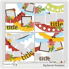 digital scrapbook templates by scrapping with liz - banners