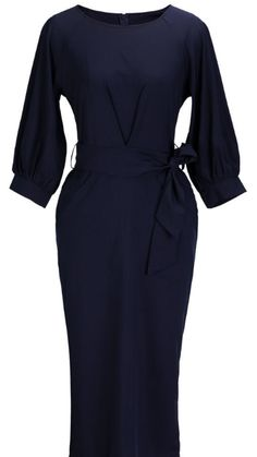 Chic Lantern Sleeve Belted Slim Fit Midi Dress