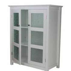 Unique Elegant Home Fashions Dawson Collection Shelved Floor Cabinet White