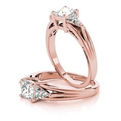 Engagement Ring -Three Stone Princess - Trillion Diamond Engagement... ($1,831) ❤ liked on Polyvore featuring jewelry, rings, princess cut engagement rings, princess cut diamond rings, rose gold engagement rings, rose gold diamond ring and diamond rings