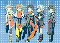 Five heroes have changed outfits with everyone! I can't pin point exactly who everyone is. Frey is Lazlo, Sieg is Riou. not exactly sure for the others. I was thinking Tir is Frey. Suikoden, First Game, Final Fantasy, Saga, Video Games, Cinema, Outfits, Fictional Characters, Videogames