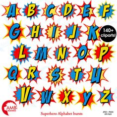 Here you find the best free Superhero Clipart Letters collection. You can use these free Superhero Clipart Letters for your websites, documents or presentations. Alphabet A, Superhero Alphabet, Superhero Clipart, Superhero Party, Superhero Classroom, Superhero Bathroom, Doodle Alphabet, Printable Alphabet, Letras Comic