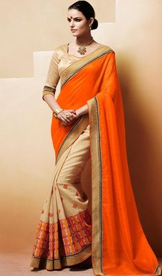 Earn your place in the spotlight when you arrive at the spot draped in this orange, beige color bhagalpuri silk half n half saree. This gorgeous saree is showing some remarkable embroidery done with resham and stones work. Upon request we can make round front/back neck and short 6 inches sleeves regular sari blouse also. #NewDesignOfOrangeAndCreamHalfAndHalfSari