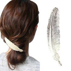 Binmer(TM) Women Girls Leaf Hair Pins Hair Claw Barrettes Hairpins Clip Hairpin Hair Accessories (Silver) >>> Visit the image link more details.