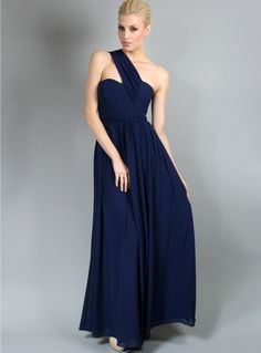 Madison Dress. Elegantly pleated chiffon one shoulder maxi dress by White Velvet. Features a cross over shoulder strap and fitted bodice.