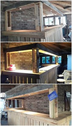 What a giant long creation of the wood pallet counter bar table has been enrolled down in this image for you! u shaped designing work of the table with the Bar Pallet, Pallet Counter, Bar Counter, Diy Home Bar, Diy Bar, Bars For Home, Backyard Bar, Patio Bar, Home Bar Designs