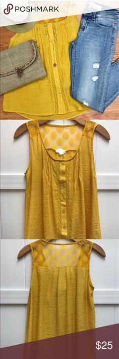 Mustard top Mustardly adorable top with lace detail Tops Button Down Shirts