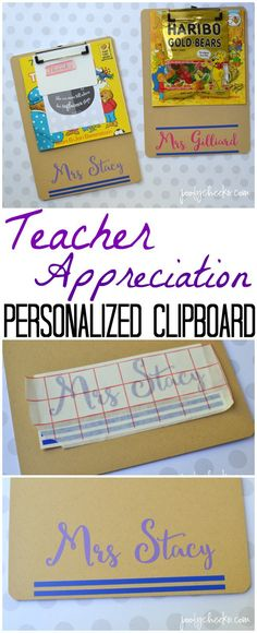 Personalized teacher appreciation clipboard with snacks, a book and a thank you card attached.