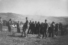 The dreaded Ustasa (Croatian fascist) soldiers lead people to their execution in Herzegovina, in the pro-German fascist state of Croatia established following the partition of Yugoslavia. Croatia, between 1941 and 1944. The Utasha's dedicated actions against Jews, appalled even the most hardened Nazi. Throat-slitting was a speciality where individual soldiers would wager bets as to how many they could kill in a day.