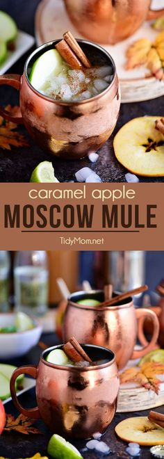 A Caramel Apple Moscow Mule is perfect for autumn! Made with sweet caramel vodka, fresh apple cider, and ginger beer it's sure to become a favorite fall cocktail! Get the recipe at TidyMom.net via @tidymom