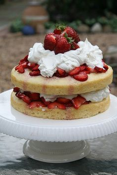 Strawberry shortcake  Could later angel food cake with cool whip and strawberries. Add a 3rd layer of cackle and frost completely with cool whip.