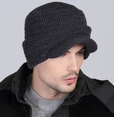 Winter ear protection knit hat for father
