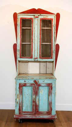 Circa 1890 to 1910, Painted New Mexican Trastero (Cupboard/Cabinet) | From a unique collection of antique and modern painted furniture at http://www.1stdibs.com/furniture/folk-art/painted-furniture/