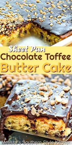 This made-from-scratch Chocolate Toffee Butter Cake is topped with a decadent homemade fudge frosting and a spin kling of toffee bits for crunch #toffeecake #buttercake #sheetcakerecipes #chocolatechipcake #cakeerecipes #fudgefrosting #chocolatecakefrosting #desserts #dessertfoodrecipes #holidaybaking #southernfood #southernrecipes Cake Roll Recipes, Sheet Cake Recipes, Delicious Cake Recipes, Cupcake Recipes, Yummy Cakes, Baking Recipes, Dessert Recipes, Sheet Cakes, Baking Tips