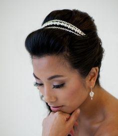Like this, @Kara Daack?  Bridal Headband Tiara Freshwater Pearl by PowderBlueBijoux on Etsy, $69.00