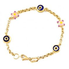 Turtle Evil Eye Bracelet For Kids 14k Gold With Enameled Lucky Charms And