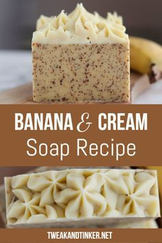 For this cold process soap recipe I'm using banana, heavy cream and essential oils. To top it of I'm doing some cute piping soap technique. soap recipes Banana and Cream Soap - Tweak and Tinker Handmade Soap Recipes, Soap Making Recipes, Handmade Soaps, Diy Soaps, Honey Soap, Shea Butter Soap, Coconut Soap, Melt And Pour, Diy Beauté