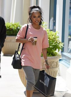 """karruechefashionstyle: """" May Karrueche at The Grove """" Chill Outfits, Casual Outfits, Cute Outfits, Gym Outfits, Casual Wear, Look Fashion, Fashion Outfits, Womens Fashion, Fashion 2017"""