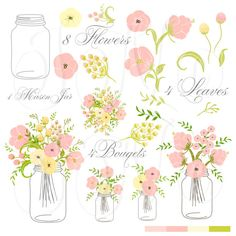 Hand Drawn Mason Jars, card template and digital papers, Clip art for scrapbooking, wedding invitations, Personal and Small Commercial Use on Etsy, $4.99