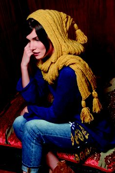 Knitted Hooded Scarf using Bergere de France Pure Nature in Jonquile
