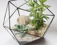 Terrario de cristal geométricos / por WhiteLiesJewelry en Etsy