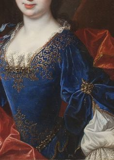 Françoise appears to be wearing a blue velvet dress wwith silver embroidery enhanced by jewels in this de Troy studio work. Classic Paintings, Beautiful Paintings, Historical Costume, Historical Clothing, Fashion History, Fashion Art, Troy, Classical Art, Detail Art