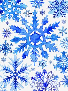 Blue Watercolor Snowflakes by © Margaret Berg. www.margaretbergart.com