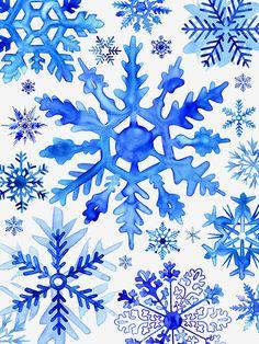 Blue Watercolor Snowflakes by © Margaret Berg. www.margaretbergart.com