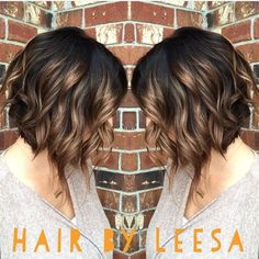 Image result for brown hair with dark caramel highlights bobs