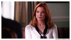 Bree Van De Kamp white cashmere 3/4 three quarter sleeves with black and white neck tie knot knee length pencil skirt top Desperate Housewives series fashion outfit style clothes season 2 episode 6