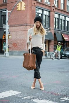 Women fashion clothing outfit style brown handbag shoes sweater black spring casual street