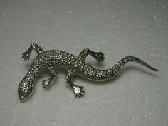 "Vintage Marked .925 Salamander Brooch, Silvertone, Textured, 3.25"" #unbranded"