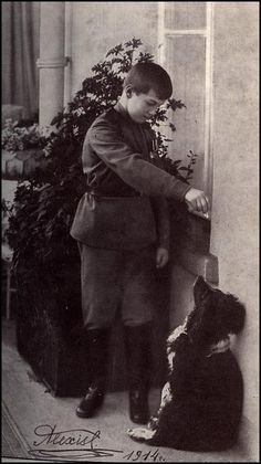 Alexei with his spaniel Joy.  Joy was spared the execution of his master and was later rescued by soldiers of the White army.  He was eventually taken to England.