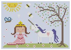 The Floss Box | The Princess Cross Stitch super cute cross stitch patterns....make a grouping for Anya's room?