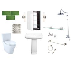 We're at it again with another look for less 🙌—a curated collection of budget-friendly materials from @Walmart to help you recreate this beautiful green bathroom renovation! Tap the link in our bio to view the products. Bathroom Renovations, Home Remodeling, Bathrooms, Pedestal Sink, Shower Faucet, Sconce Lighting, Get The Look, Walmart, Budget
